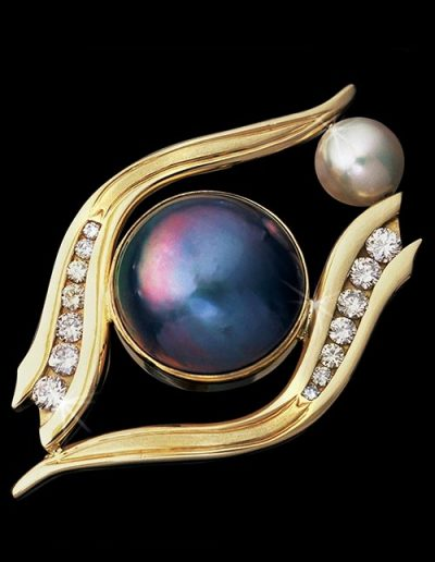 custom crafted jewelry gold pearl and diamond