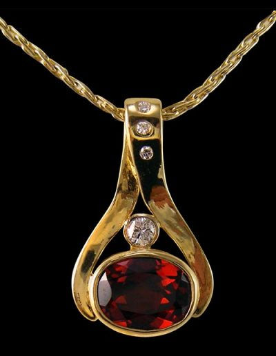custom gold necklace with ruby